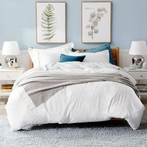 3 pc Queen Size White Bedding Duvet Cover 90x90